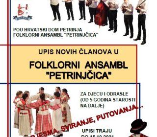 """Upisi u Folklorni ansambl """"Petrinjčica"""""""