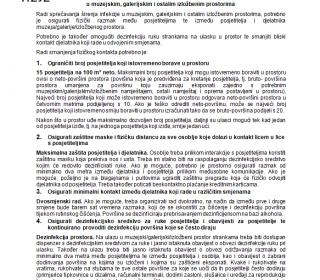Preporuke za sprečavanje infekcije u muzejskim, galerijskim i ostalim izložbenim prostorima